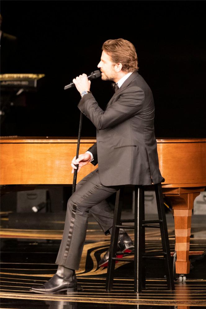 "Bradley Cooper performs ""Shallow"" in Antonio Boots, Winner for Best Original Song."