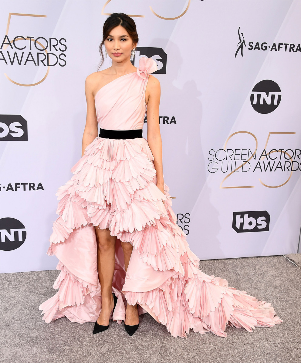 Gemma Chan wears the beautiful Iriza shoes.